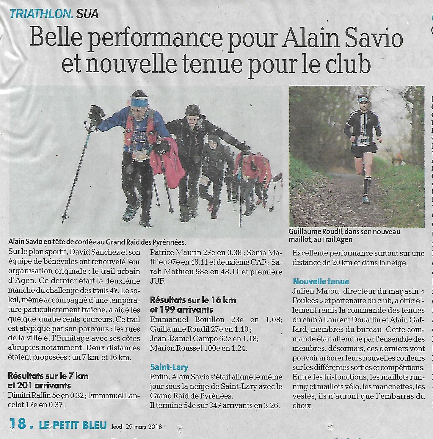 Le Petit Bleu du 29 mars 2018