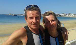 Alain Maubras et Marie Hélène Porta au Triathlon de Quiberon